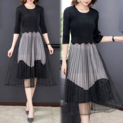 【韓國K.W.】(預購)   時尚網紗拼接閃亮壓摺洋裝