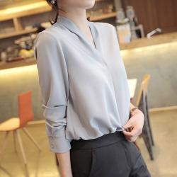 2F韓衣-簡約V領氣質袖口造型上衣-2色-(S-2XL)