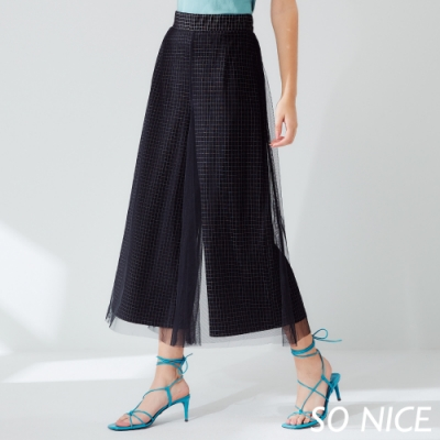 SO NICE時尚格紋網紗羅馬布寬褲