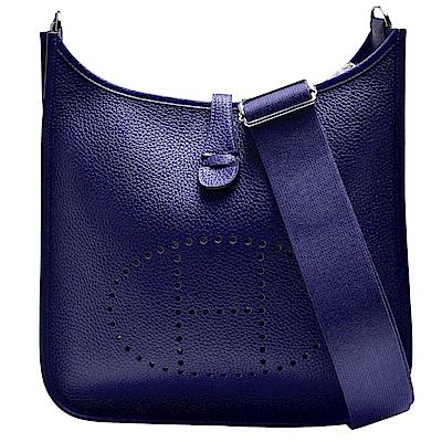 HERMES Evelyne III 29系列荔枝紋小牛皮鏤空洞H LOGO肩背包(藍紫)