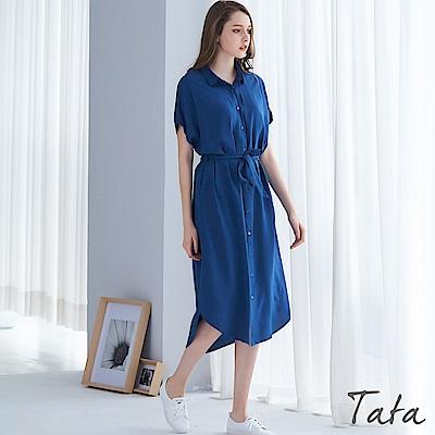 前開扣素色長洋裝 TATA