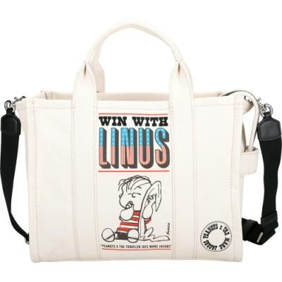MARC JACOBS TRAVELER Peanuts 聯名款 奈勒斯圖像帆布兩用托特包(米白色)