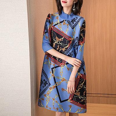 民族風時尚立領顯瘦壓褶洋裝-F(共兩色)-糖潮