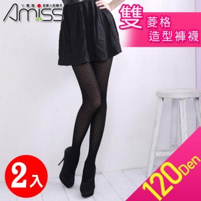 Amiss 120D雙菱格造型褲襪2入組(3204-18)