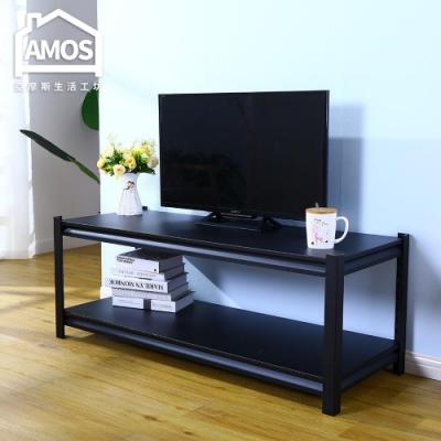 Amos-黑金剛免螺絲超穩固鐵板雙層角鋼電視櫃/客廳桌