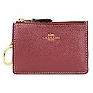 COACH 馬車防刮皮革後卡夾鑰匙零錢包(葡萄酒紅)