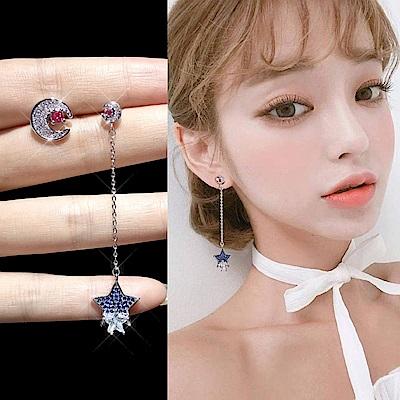 梨花HaNA 韓國925銀藍月星空之幻境耳線耳環