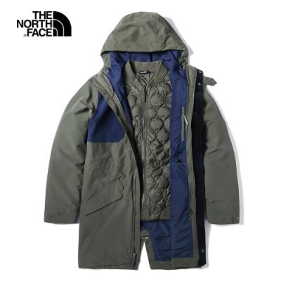 The North Face北面男款綠色防水保暖三合一外套 3VUI21L
