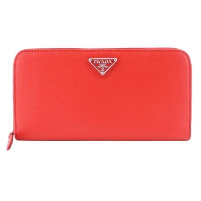 PRADA Saffiano 三角標防刮牛皮多夾層拉鍊長夾(橘紅)