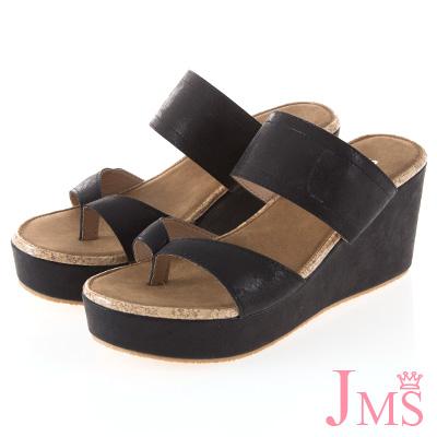 JMS-簡約休閒寬帶夾腳楔型涼拖鞋-黑色