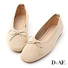 D+AF 甜美雅緻.透氣針織芭蕾娃娃鞋*杏
