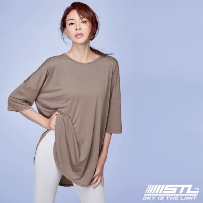 STL yoga FreshCrapeLyningLong 韓國瑜珈 運動機能 落肩7分袖長版上衣 奶茶Hazelnut