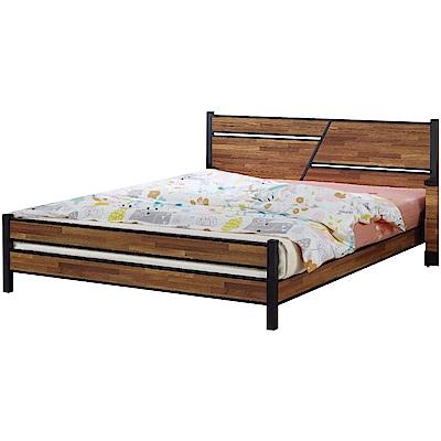 綠活居 路透斯時尚6尺木紋雙人加大床台(不含床墊)-184x196.5x91cm免組