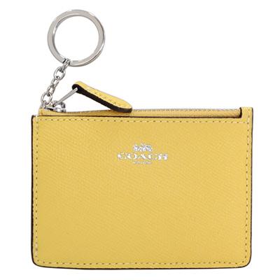 COACH小雞黃防刮皮革後卡夾鑰匙零錢包