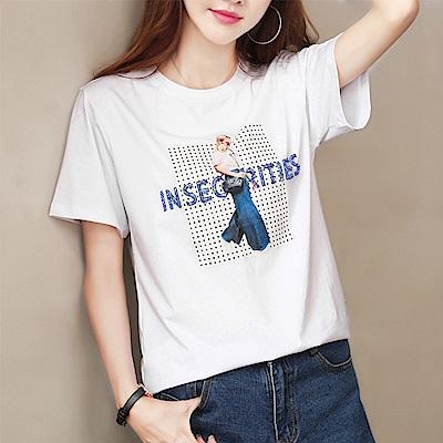 初色  英文字印花串珠T恤-白色-(M-XL可選)