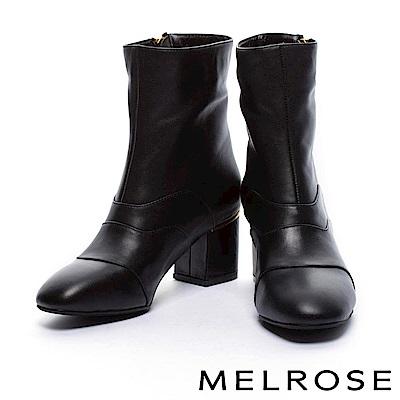 短靴 MELROSE 都會率性斜金屬拉鍊牛皮粗高跟短靴-黑