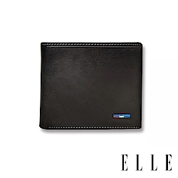 ELLE HOMME 70週年系列-3卡中翻窗格真皮皮夾/短夾/零錢袋- 紳士黑 EL207036