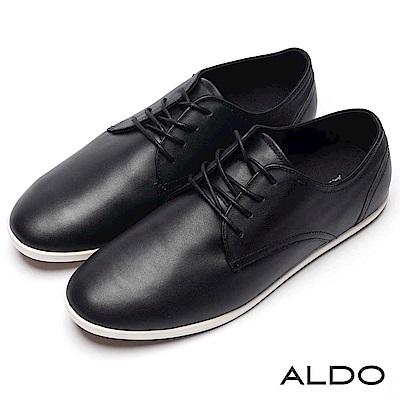 ALDO 黑色真皮幾何雙車線綁帶式休閒男鞋~尊爵黑色