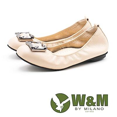 W&M 簡約方扣 淑女牛皮平底鞋 女鞋-米(另有黑、藍)