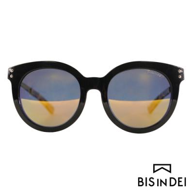 BIS IN DEI 微高調復古圓框太陽眼鏡-黑