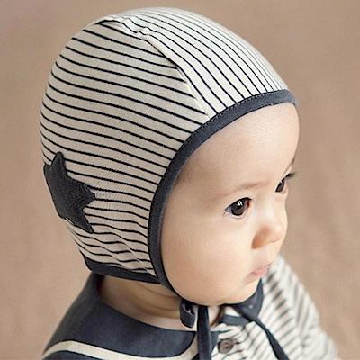 韓國 Happy Prince 黑白條紋炭黑大星綁帶嬰兒帽