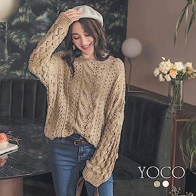 東京著衣-yoco 冬日百搭麻花棉感針織上衣(共二色)