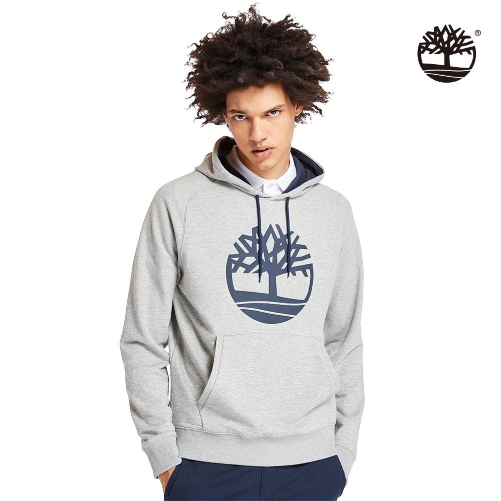 Timberland 男款中麻灰樹型標誌長袖連帽上衣|A2BH1