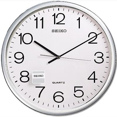SEIKO 精工 銀色 光感外框 時鐘 掛鐘(QXA041S)-白/40cm
