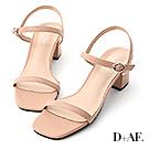 D+AF 夏日美型.一字細帶方頭中跟涼鞋*粉