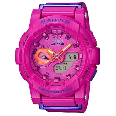 BABY-G亮眼搶色運動穿搭跑者設計概念錶(BGA-185FS-4A)-桃紅x橘針/44mm