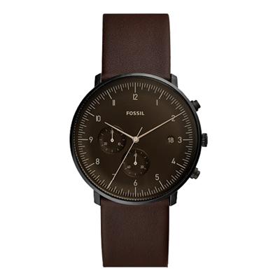 FOSSIL  古典紳士皮革腕錶-深咖色X黑-FS5485/42mm