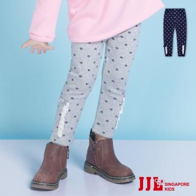 JJLKIDS 蕾絲貓咪花布內刷毛保暖內搭褲(2色)