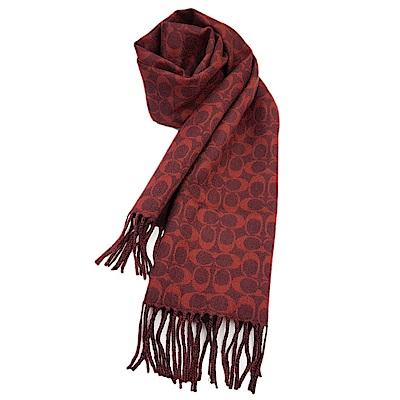 COACH 經典滿版LOGO 純羊毛披肩圍巾-紅黑格紋