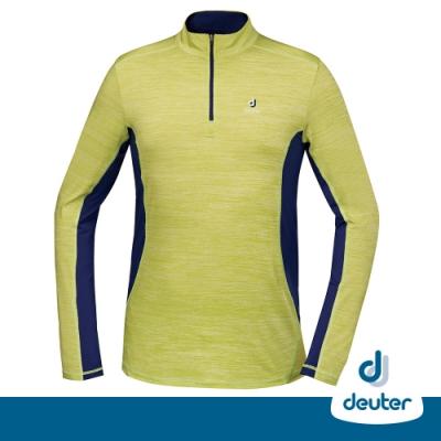 【DEUTER德國】男款防曬透氣長袖立領彈性保暖拉鍊衫DE-P1703M黃綠/藍