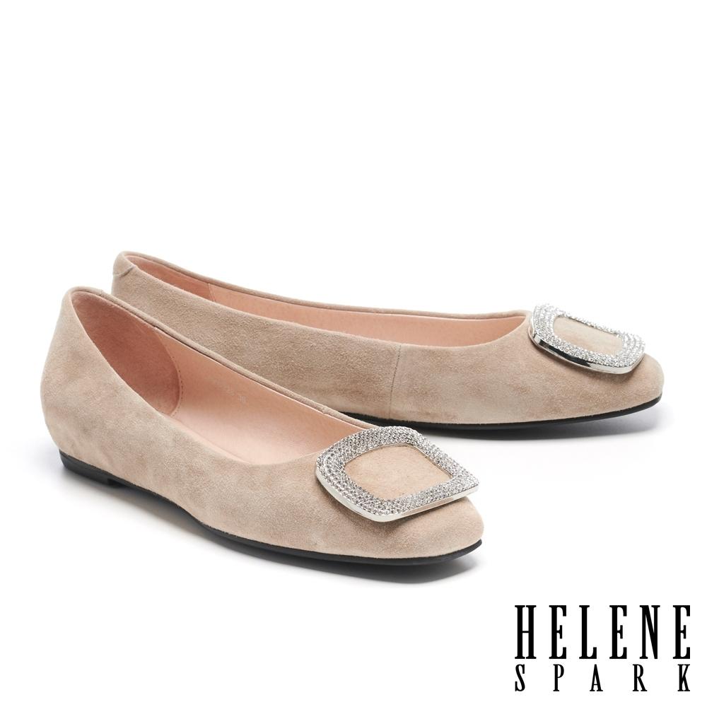 低跟鞋 HELENE SPARK 高雅時尚方型鑽飾全真皮方頭低跟鞋-灰