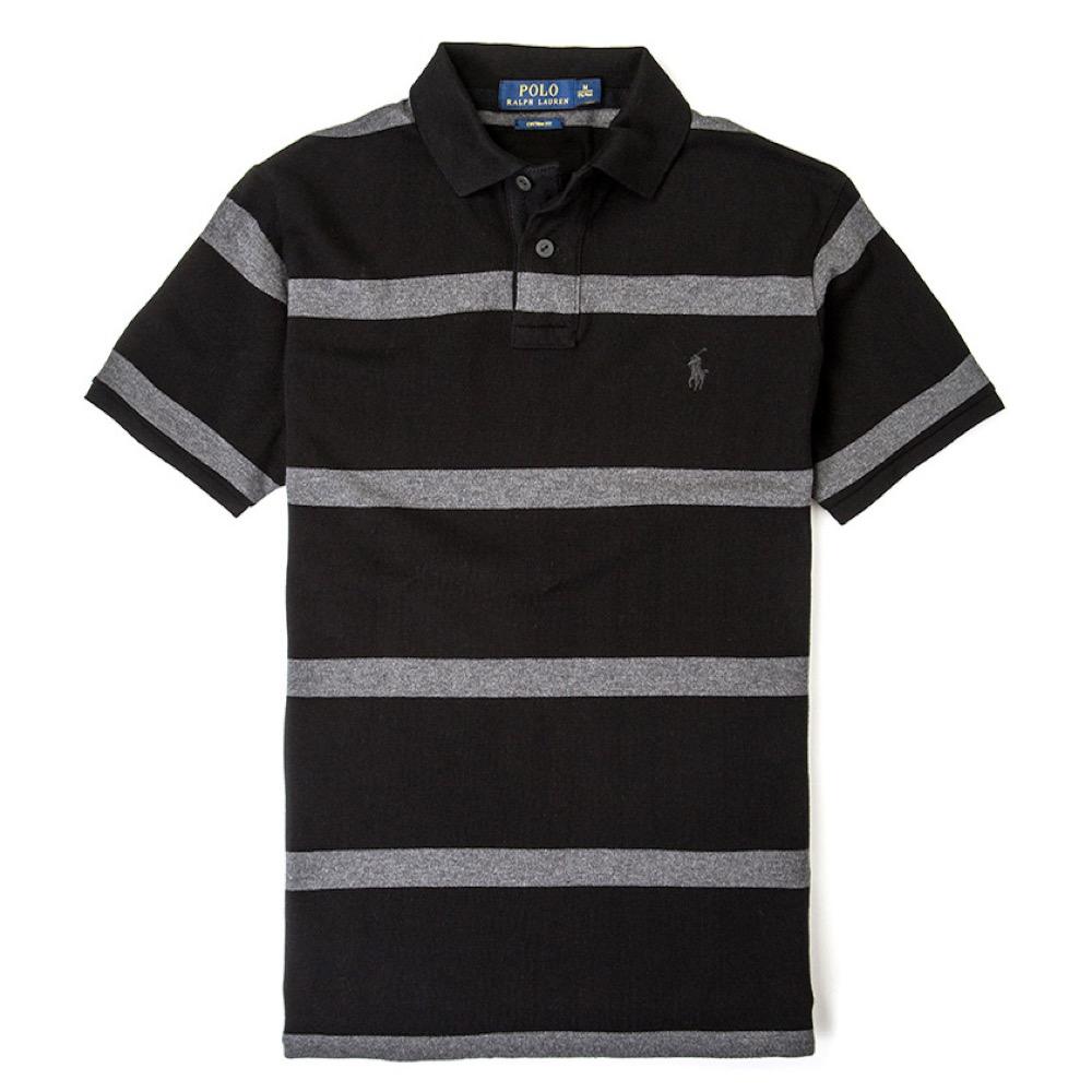 Polo Rlaph Lauren 經典小馬條紋Polo衫(Custom)-黑灰色