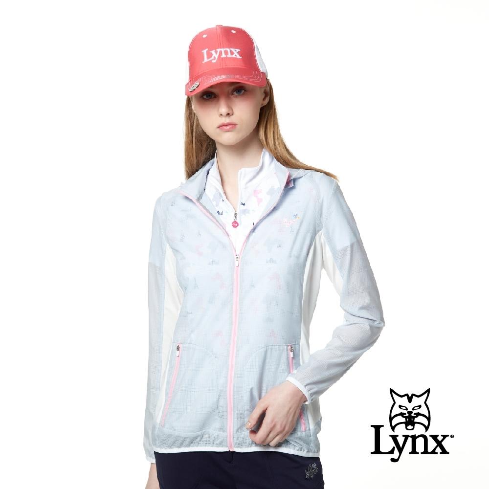 【Lynx Golf】女款吸濕排汗網狀透氣Lynx繡花可拆式連帽長袖外套-淺灰色