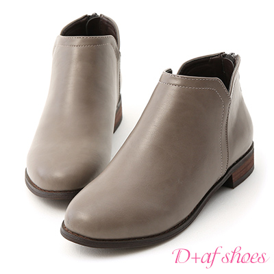 D+AF 好感加分.側V口平底精靈短靴*灰