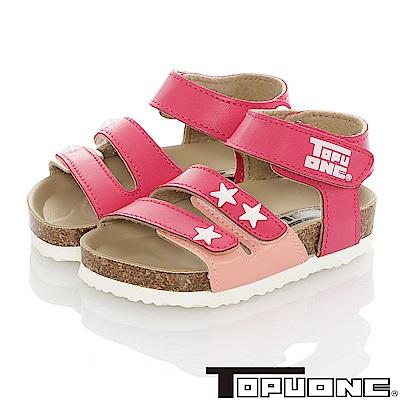 TOPUONE童鞋 輕量減壓吸震腳床型涼鞋-桃