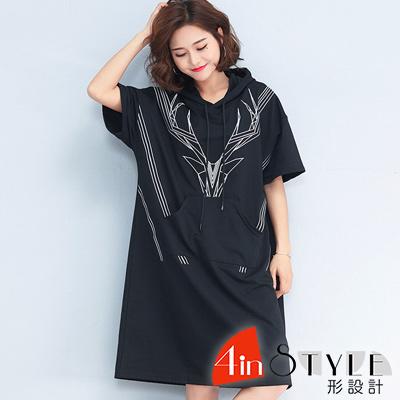 小鹿刺繡大口袋連帽洋裝 (黑色)-4inSTYLE形設計