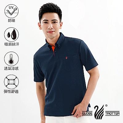 【遊遍天下】MIT男款吸濕排汗抗UV機能POLO衫GS10027丈青桔