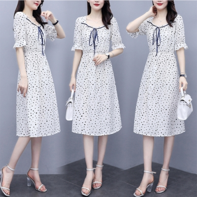 【KISSDIAMOND】清新脫雅泡泡袖A-Line裙(KDD-3003)