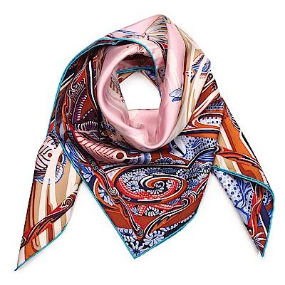 HERMES 水世界圖騰真絲方型披肩圍巾(粉橘色)