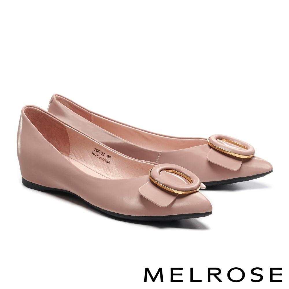 低跟鞋 MELROSE 俐落質感金屬圓釦造型全真皮內增高尖頭低跟鞋-粉