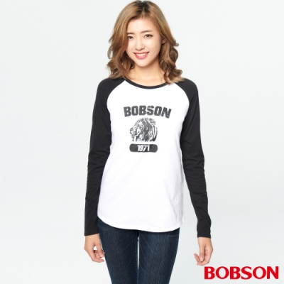 BOBSON 女款印圖拉克蘭袖上衣