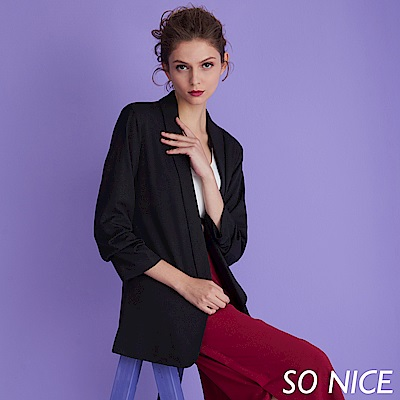 SO NICE都會簡約長西裝外套