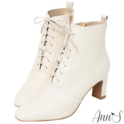 Ann'S頂級小羊皮窄瘦修身造型綁帶方頭扁跟短靴-米白
