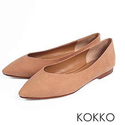 KOKKO - 超軟底復古尖頭真皮平底鞋-肉桂拿鐵
