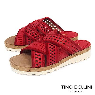 Tino Bellini 義大利進口造型鞋帶交錯厚底涼拖鞋_ 紅