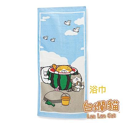 白爛貓Lan Lan Cat 臭跩貓滿版印花浴巾(西瓜-夏日沙灘)